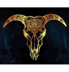 Hand drawn romantic ornate goat skull vector image vector image