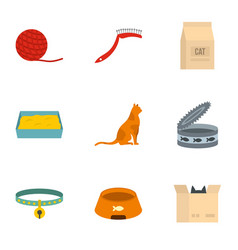 Happy cat life icons set cartoon style vector
