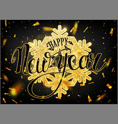 Happy new year lettering greeting card for holiday vector