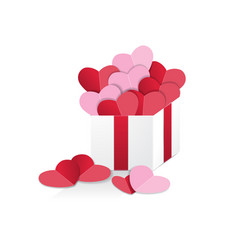 Hearts in gift box vector