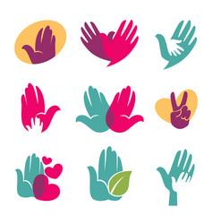 human hands symbols of helping hand heart vector image vector image