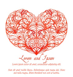 Lacy red watercolor heart vector image vector image