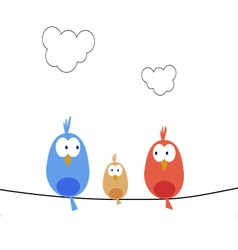 New bird family vector image