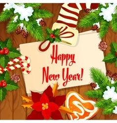 New Year tree and stocking background vector image vector image