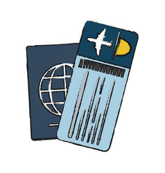 Passport with boarding pass icon image vector