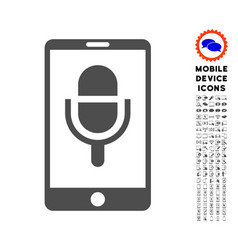 Phone microphone icon with set vector