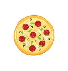 Round pizza icon isolated on white vector image vector image