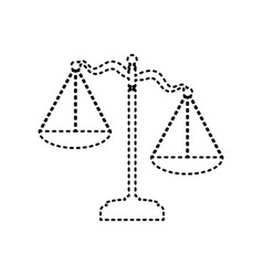 scales of justice sign black dashed icon vector image vector image