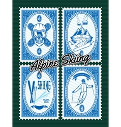 set of stamps with winter extreme sports vector image vector image