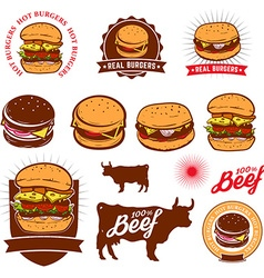 Set of the beef burgers labels vector image