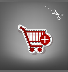 Shopping cart with add mark sign red icon vector