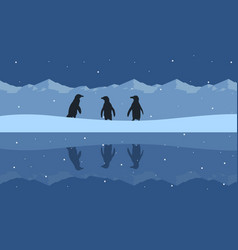 silhouette of penguin beauty scenery on snow hill vector image vector image