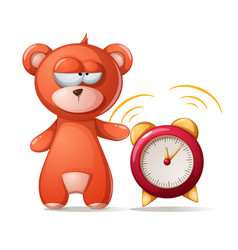 sleeping bear funny cute alarm vector image