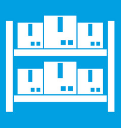 Storage of goods in warehouse icon white vector