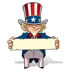 Uncle sam holding a sign vector