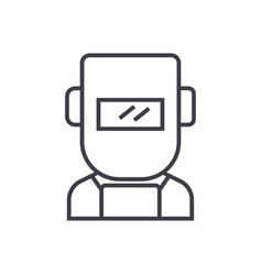 welder line icon sign on vector image