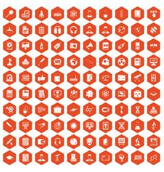 100 researcher science icons hexagon orange vector