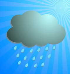 Cloud and rain drop with blue rays vector