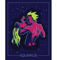 Zodiac sign aquarius on night starry background vector