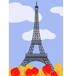 Eiffel tower with tulips vector image