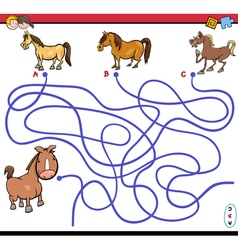 Path maze game with horses vector