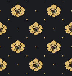 Seamless pattern black with flower vector