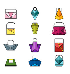 set of color origami bag vector image