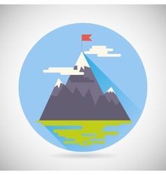 Achievement top point flag goal symbol mountain vector