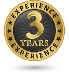 3 years experience gold label vector image