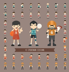 Set of 43 sportman costume characters vector image