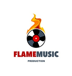 Flame music logo vector