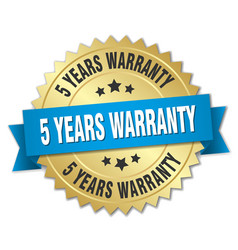 5 years warranty 3d gold badge with blue ribbon vector image vector image