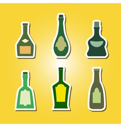 Set of color icons with bottles vector