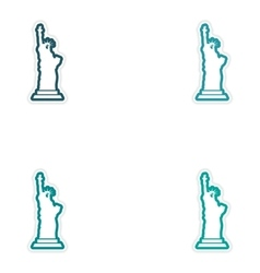 Set stickers the statue of liberty on white vector