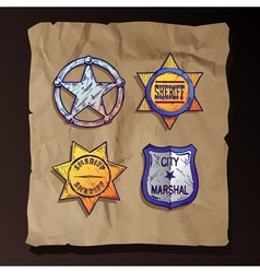 Sheriff stars on old paper background vector