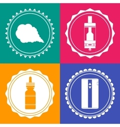 Set of 4 vaping design element signs vector