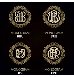 Vintage monograms - 4 sets - monograms series vector