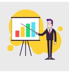 Modern businessman points to flipchart with vector