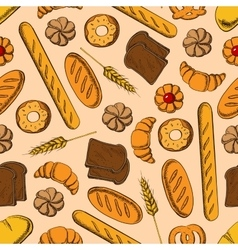 Seamless healthy bakery products retro pattern vector
