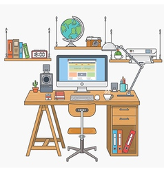 Flat lines modern workplace vector