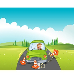 A car crash at the road near the hill vector image vector image