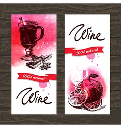 Banners of mulled wine vintage background vector