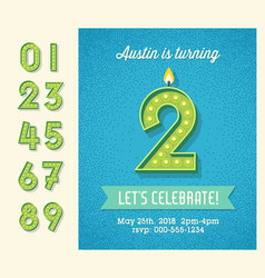 birthday invitation with 3d light bulb numbers vector image
