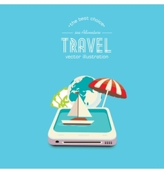 Booking travel through your mobile device vector
