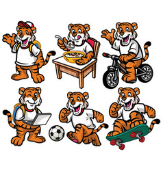 Cartoon character set of cute little tiger vector