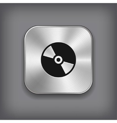 Cd or dvd disc icon - metal app button vector