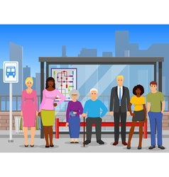 Crowd bus stop flat composition poster vector