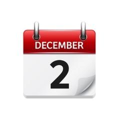 December 2 flat daily calendar icon date vector