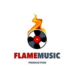 Flame music logo vector