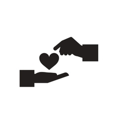 Flat icon in black and white hands heart vector image vector image